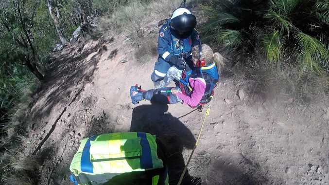 A bushwalker has been airlifted to Rockhampton Hospital with a suspected broken foot after she got into trouble while descending Mount Larcom.