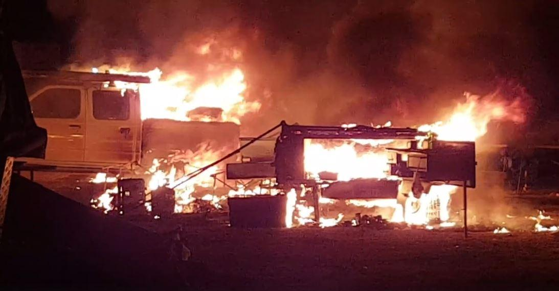 CAMPFIRE BLAZE: Fire broke out in a Leyburn camp site, destroying a ute, camper trailer, three tents and a gazebo.