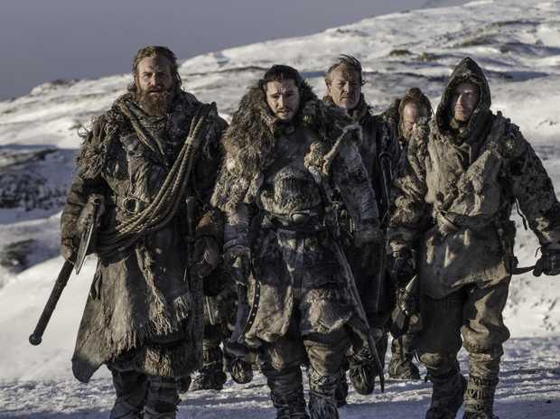 Kristofer Hivju, Kit Harington, Iain Glen, Paul Kaye and Joe Dempsie in a scene from Game of Thrones.