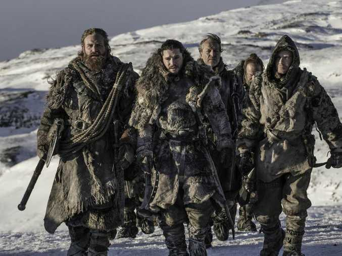 Kristofer Hivju, Kit Harington, Iain Glen, Paul Kaye and Joe Dempsie in a scene from Game of Thrones.