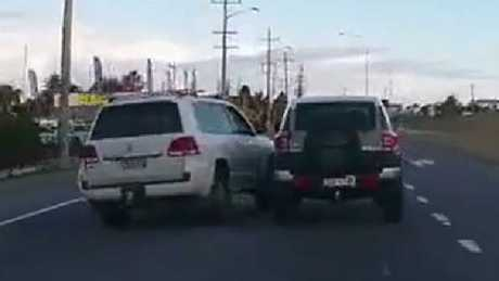 The Landcruiser swerves into the other vehicle. Picture: Dash Cam Owners Australia