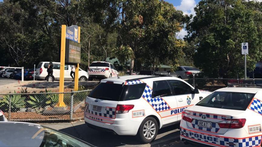 Ashmore school is in lockdown following a bomb threat. Photo: Nine News