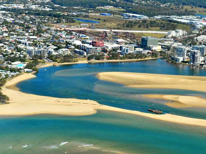Aerial photography Sunshine Coast. Dredging Maroochy River at Cotton Tree.