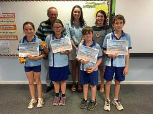 SPEAKING SUPERSTARS: William Gordon, Abbey Gordon, Jesse Demchenko and Maricka Murphy with judges Tamlyn Marsh, Emily Killen and Col Siddins.