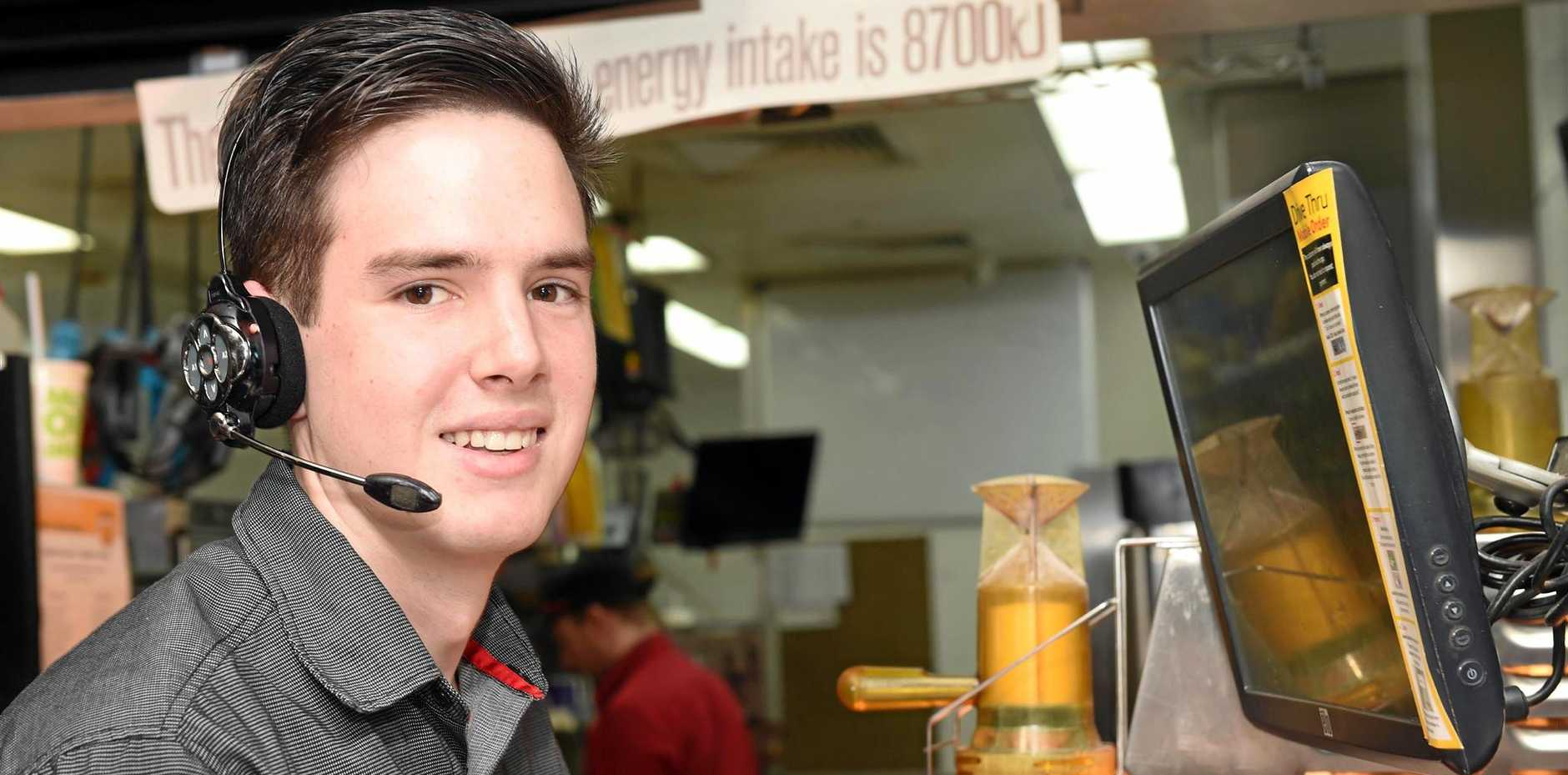 MOVING ON UP: Kyle Adams has been promoted to Shift Manager for Maryborough McDonald's.