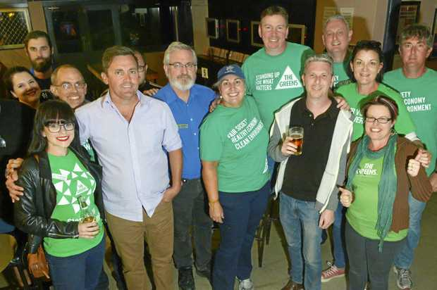WELL-BACKED: Greens candidate Brett Morrissey with supporters at the Coronation Hotel after the 2017 Ipswich mayoral by-election.