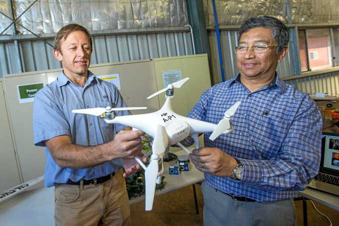 TECH EXPERTS: USQ's Dr Malcolm Gillies (left) shows drone technology to Myanmar Ambasador to Australia Tha Aung Nyun during the Australia-ASEAN Council visit.