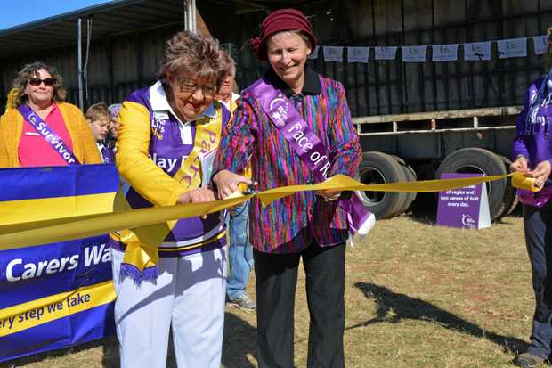 OFF WE GO: Patron Jenny Ryan and face of the event Barbara Martin open the 2017 Lockyer Valley Relay for Life