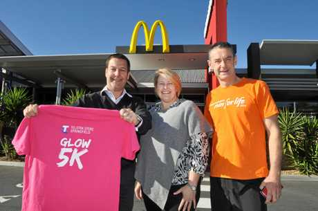 Telstra and McDonald Springfield Lakes are major sponsors of the upcoming McDonalds Greater Springfield Run for Life. Pictured are Simon Collin, Lisa Mackintosh and Pastor Phil Cutcliffe.