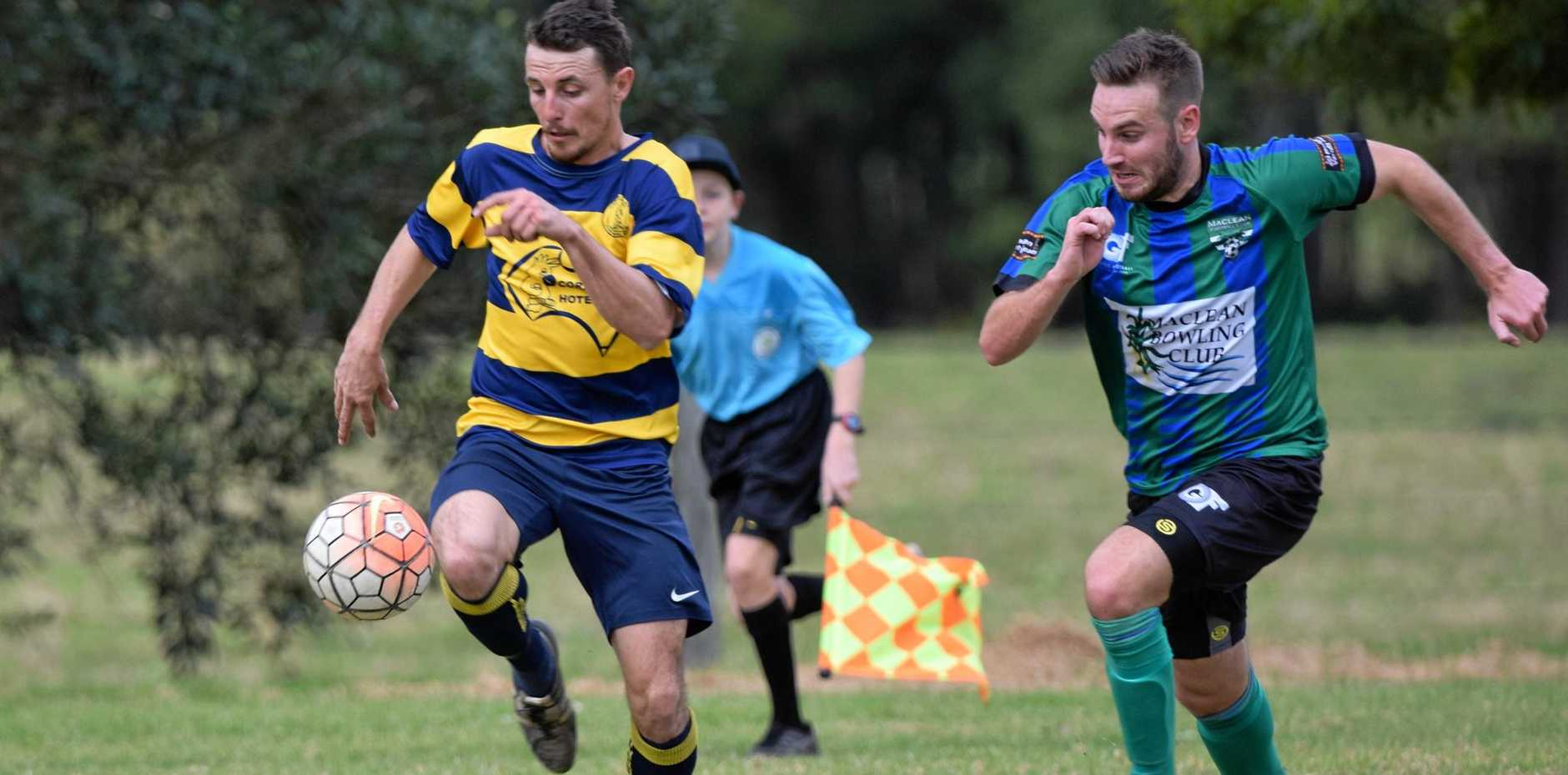 ONE STEP AHEAD: Danny Rohwer breaks away down the right side for Orara Valley in the crucial win over Maclean.