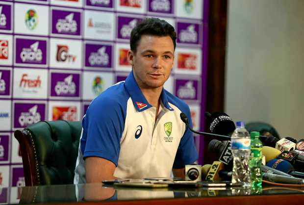 Peter Handscomb speaks to the media prior to an Australian Test team nets session in Dhaka.