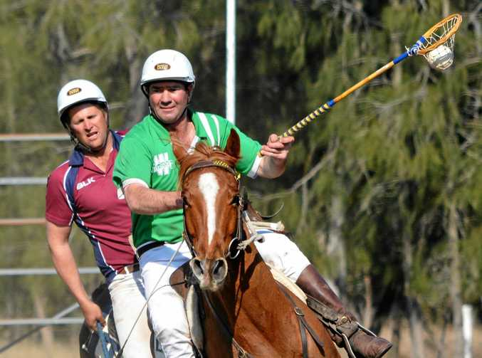 FINAL PLAY: Warwick's Stewart Shepherd in action in the Warwick Polocrosse Club's Rose Bowl final against Tansey.