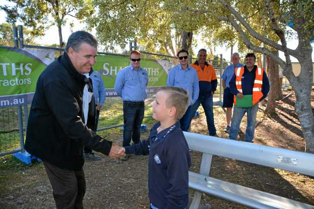 THANK YOU: The Shadforths team at the Kawana Waters State College Thank-you Tradie Barbecue meets a thankful student.