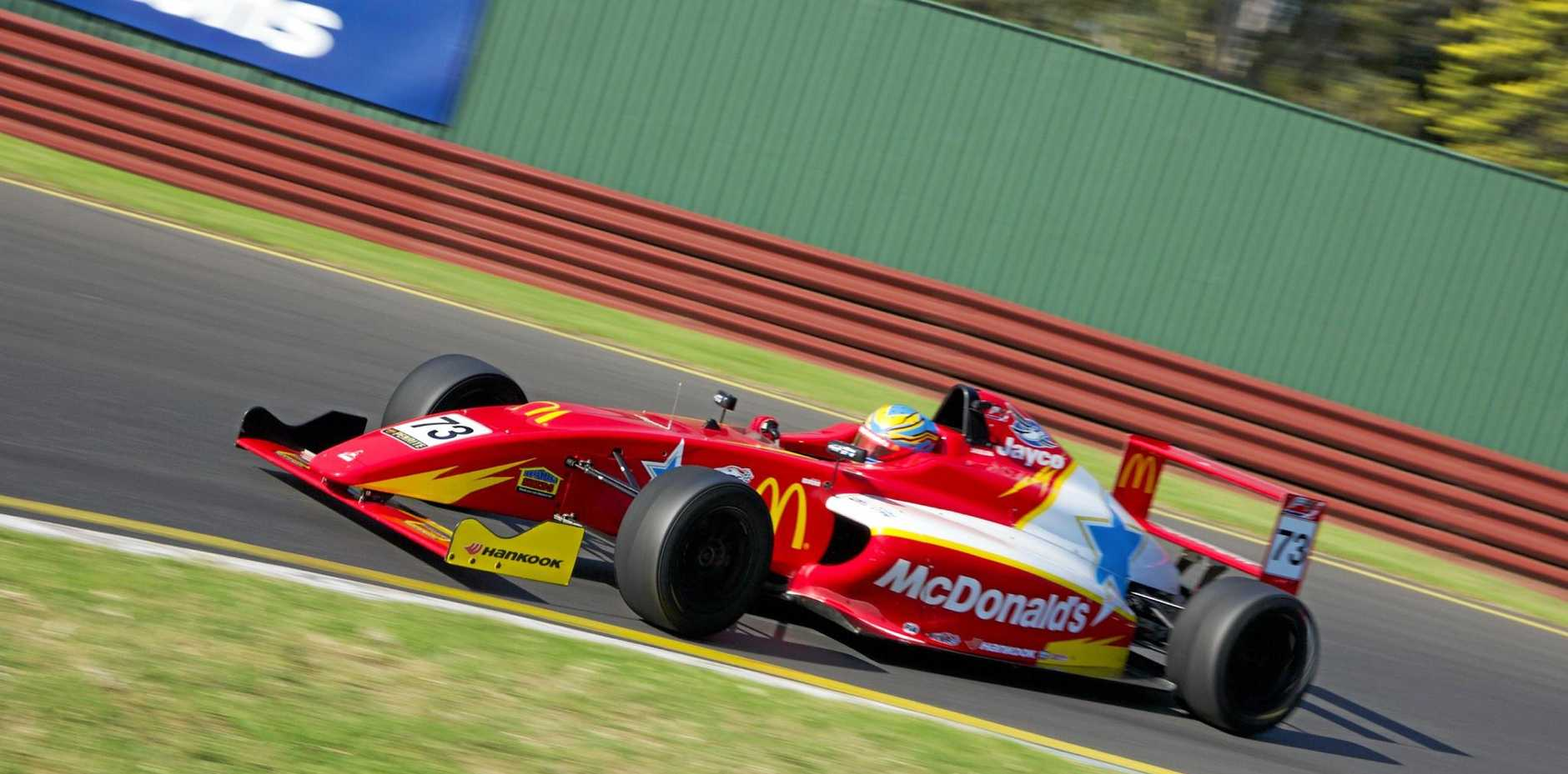 ON TRACK: Toowoomba driver Cameron Shields races in the Australian Formula 4 Championship.