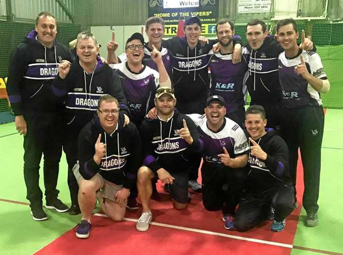 CHAMPIONS: The Toowoomba Dragons celebrate winning the National Indoor Cricket League south-east Queensland grand final.