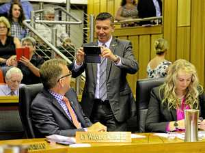THANKS MATE: Cr Andrew Antoniolli gets a photo of new councillor Wayne Wendt after Cr Wendt was sworn into the 2016 council. Cr Antoniolli has praised Cr Wendt's contribution to his mayoral win on Saturday.