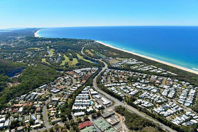 An aerial photograph of the Sunshine Coast.