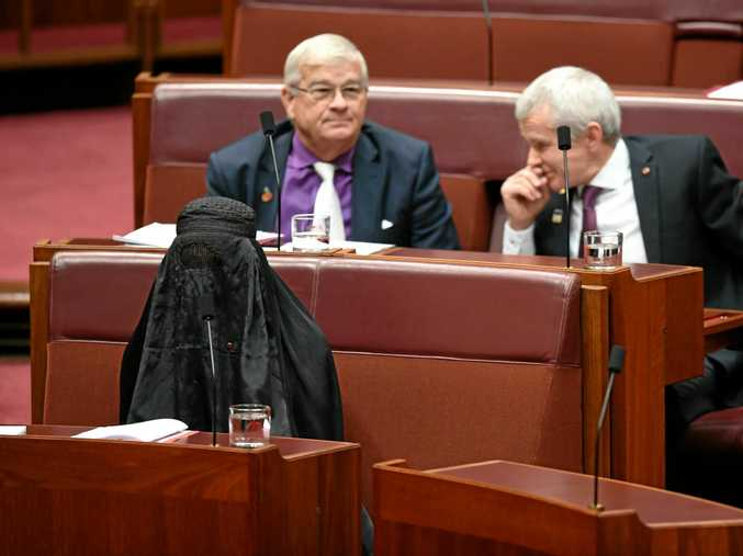 One Nation Senator Pauline Hanson (left) is seen wearing a burqa during Senate Question Time at Parliament House in Canberra, Thursday, August 17, 2017.