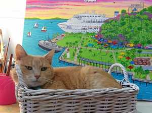 Artwork by Art by Rebecca Jane (cat not included) depicting the 'Feast on East' markets.