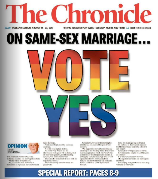 Saturday's front page article on same-sex marriage.