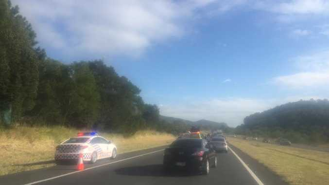 ON THE ROAD: Emergency services near the Eumundi Rd exit on the Bruce Hwy.
