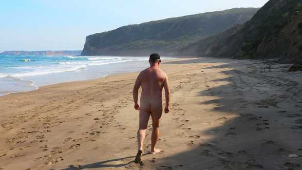 "An unidentified nudist pictured at a ""clothes-optional"" beach at Point Addis in Victoria. Picture: David Crosling/file"