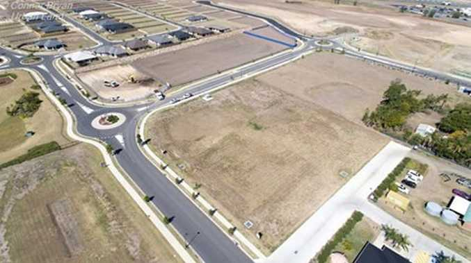 A birds eye view to the south east of the Bridgestone Tyres and Plainland Kindergarten and Child Care construction sites.