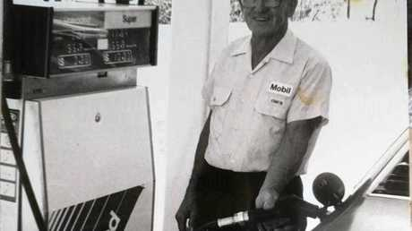 LONG AGO: Owen Jenkins filling up his car back when he still owned the Sandpiper Motel.
