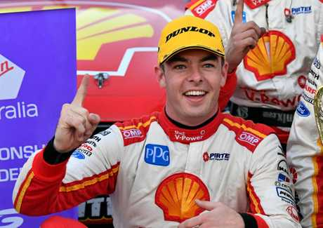 Scott McLaughlin of the Shell V-Power Racing team celebrates a win earlier this season.