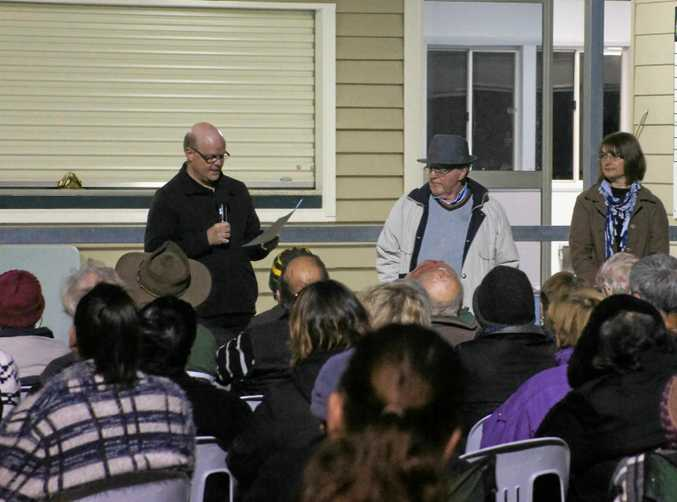Stanthorpe and Granite Belt Chamber of Commerce president Ian Henderson at the community meeting at Sullivan Oval, Stanthorpe on August 21.