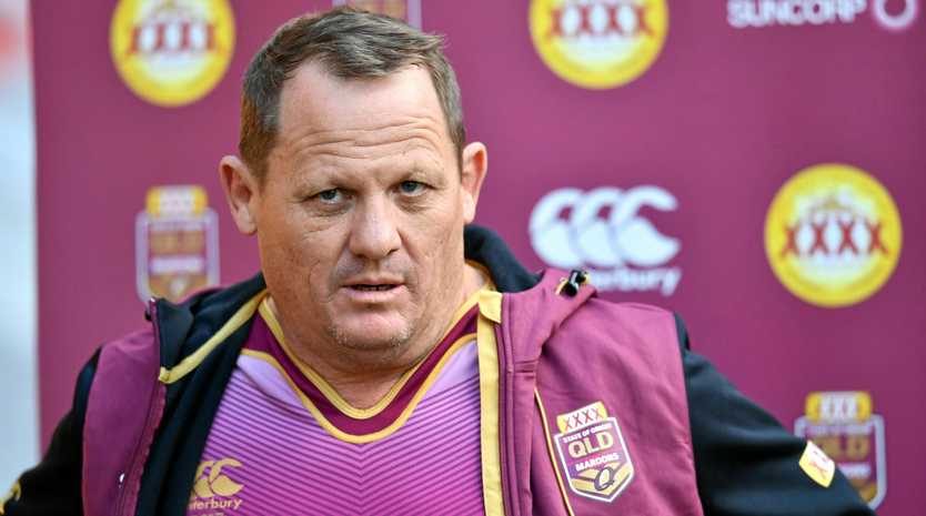 Queensland coach Kevin Walters faces the media.