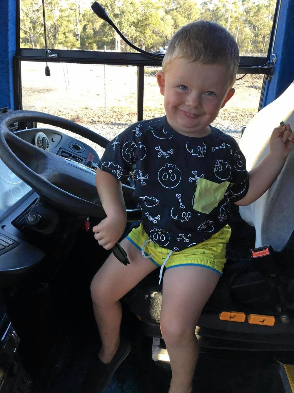 WITHOUT fail two-year-old Tyler McGibbon eagerly sits and waits for the school bus to pass morning and afternoon. He was excited to meet the driver who took the time to toot on a daily basis.