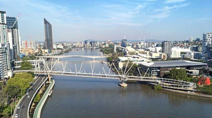 View of Brisbane River from the 20th floor bedroom of the Park Regis North Quay.