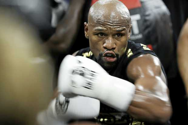 Floyd Mayweather Jnr trains at his gym in Las Vegas.
