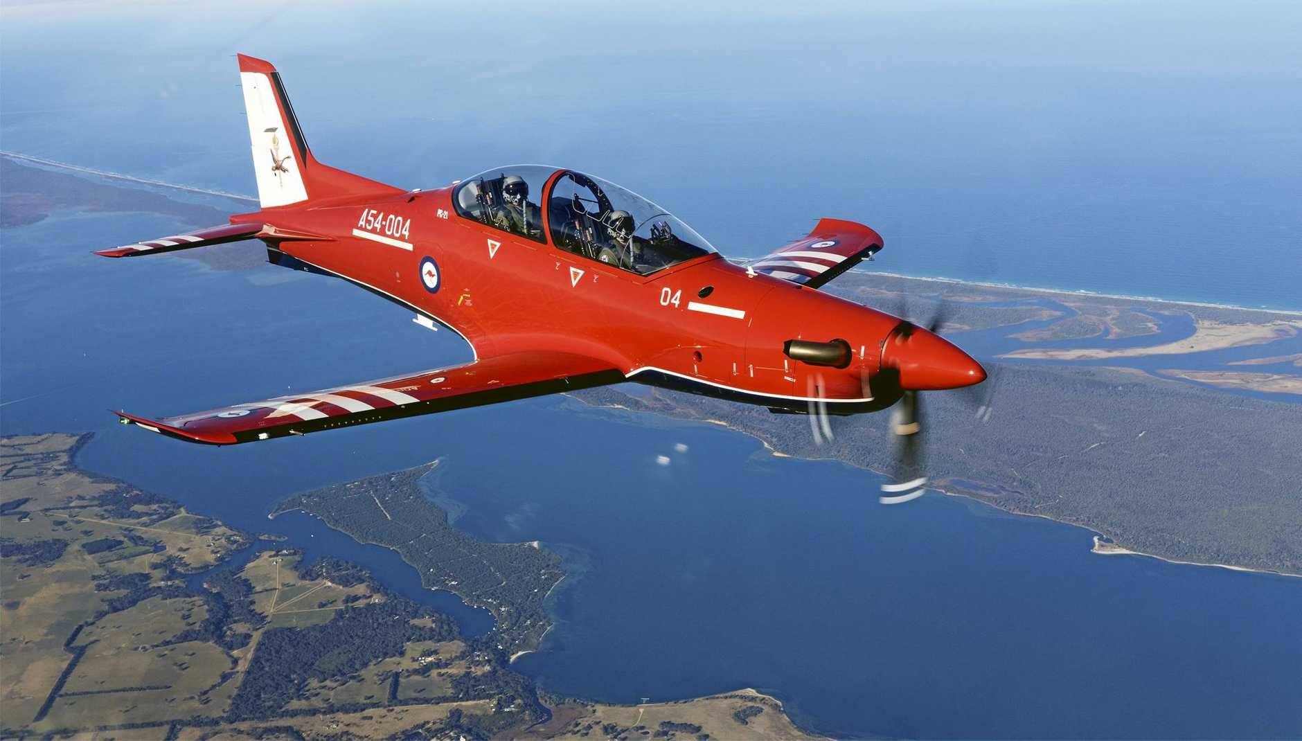 MISSION: One of Air Force's new Pilatus PC-21 aircraft during a flight in the Gippsland region.