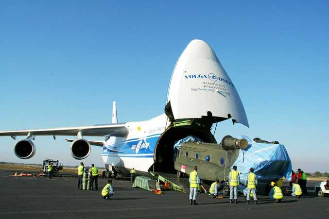 The Antonov 124-100, one of the largest aircraft in the world, lands at the Rockhampton Airport.