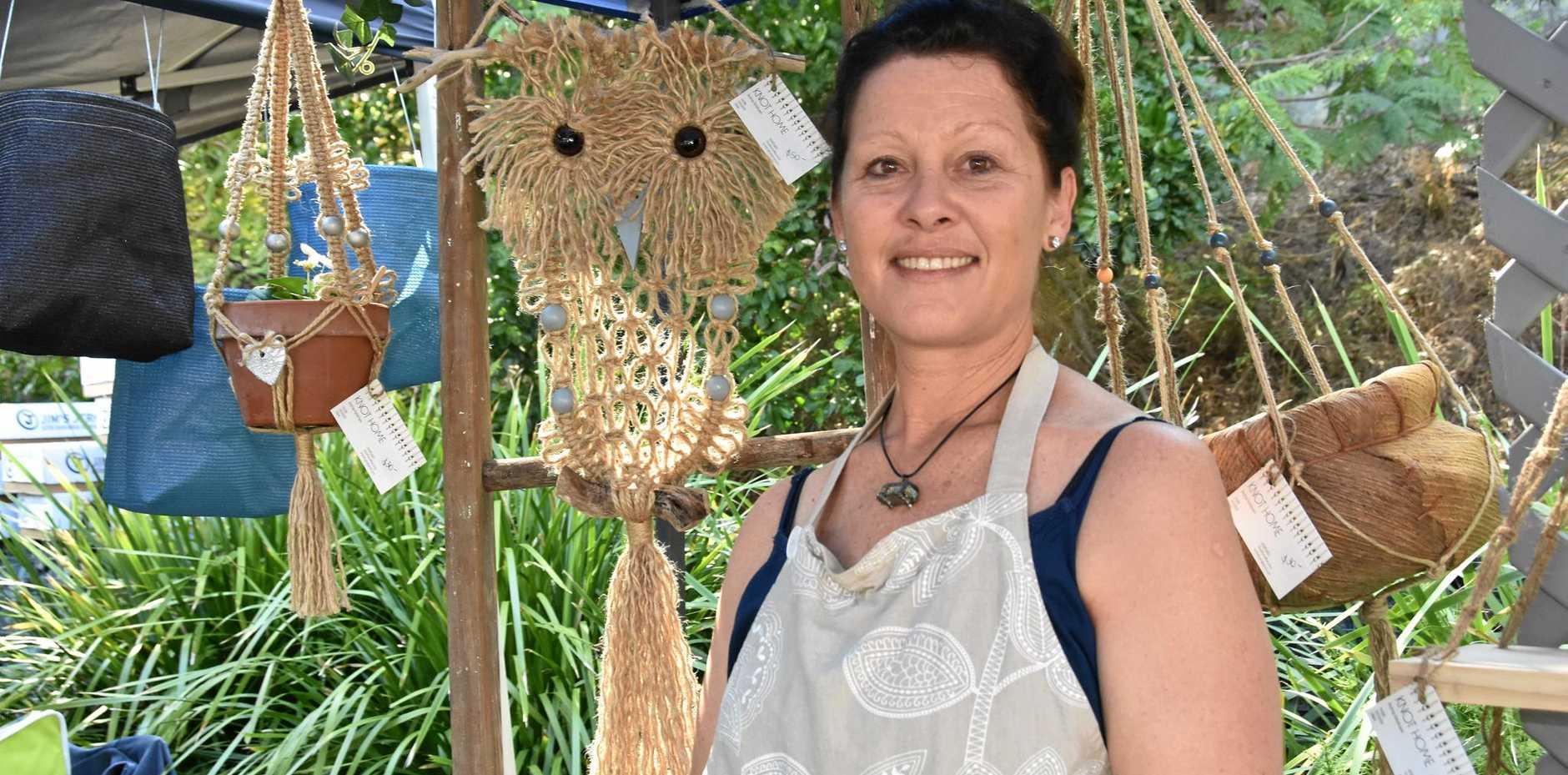 TOP KNOT: Gladstone macrame textiler Andrea Rohdmann's owl took three hours to make.
