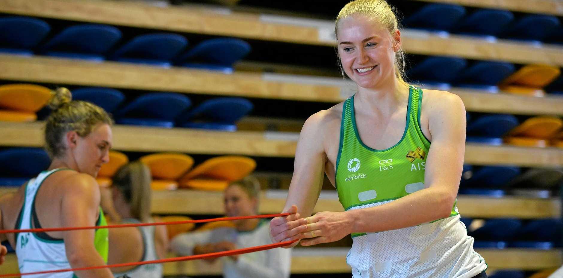 MAIN PLAYER: Australian Diamonds defender Jo Weston trains at the University of the Sunshine Coast.