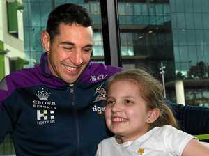Billy Slater poses for a photograph with Courtney Keel, 12, at the Royal Children's Hospital in Melbourne