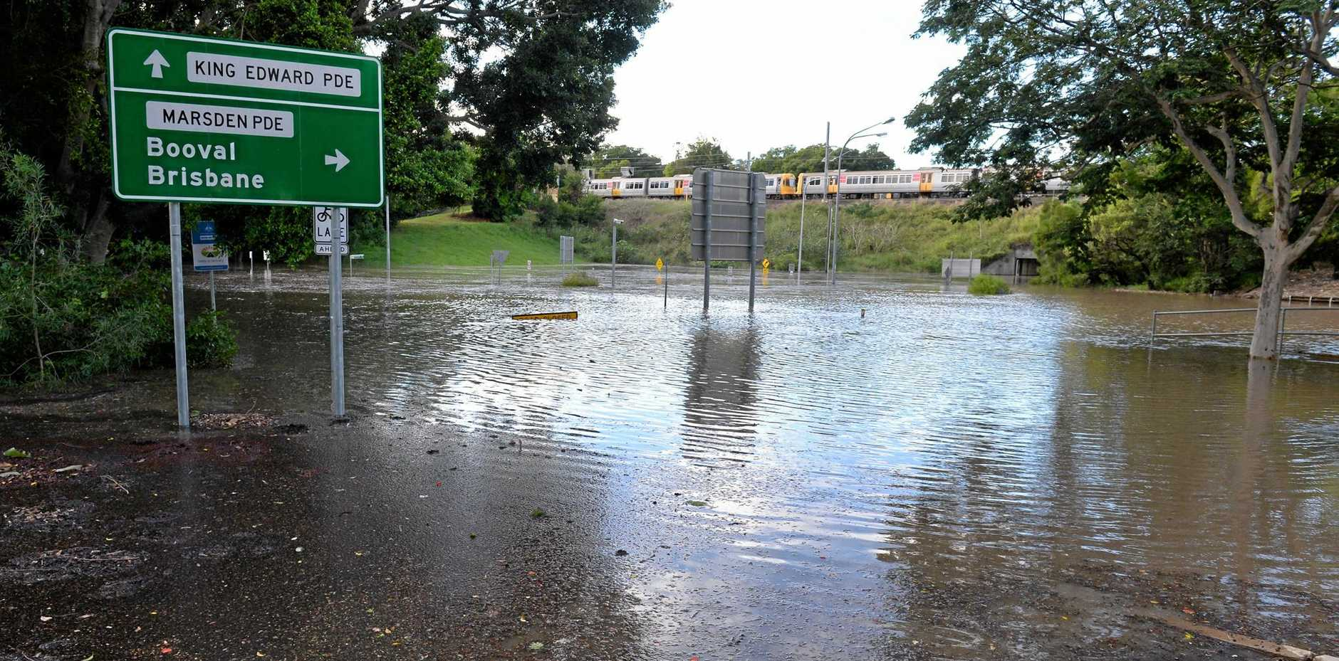 READY: Flooding in Ipswich at King Edward Parade. An emergency management pilot program that assists the city's most vulnerable is set to be rolled out by Ipswich City Council over the next 12 months.