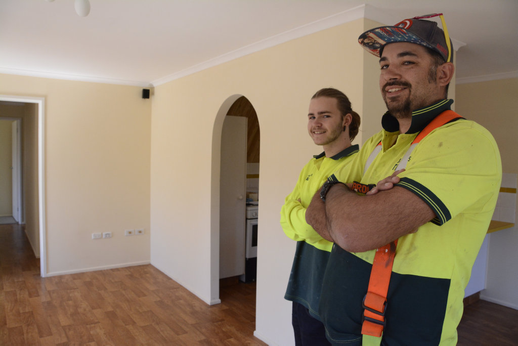 LIKE NEW: Toowoomba resident Manna 'Billy' Culgan was at risk of being black-listed from renting, until relative strangers like Gav Hinds helped him repair serious damage done to his rental property after the people he lived with trashed it.
