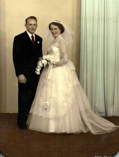 HAPPY COUPLE: Toowoomba couple Doug and Glynn Young were married  at St Andrews Presbyterian Church Southport on Saturday, August 24, 1957.
