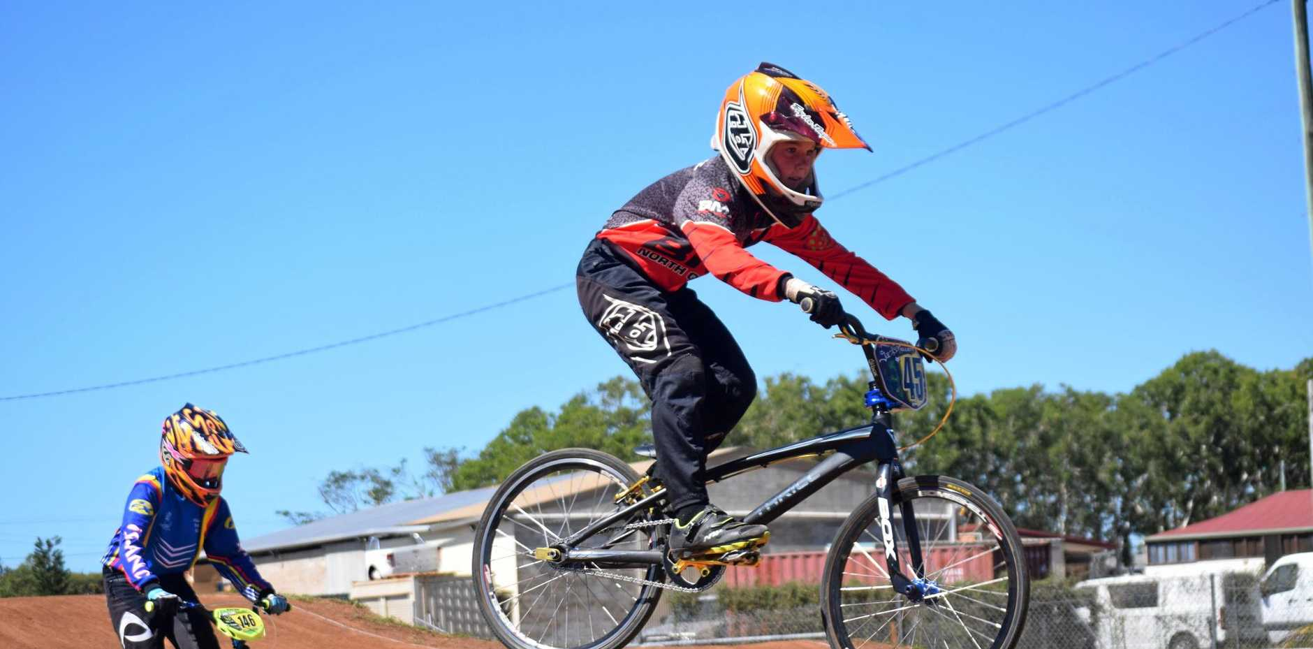 IN THE AIR: Jackson Elliott on the BMX track in Proserpine on Saturday.
