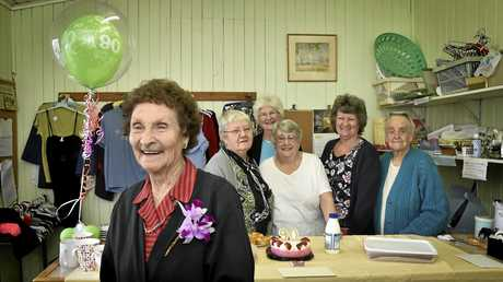 HAPPY BIRTHDAY: Betty Reid (front) turned 90 this week and has spent the past 38 volunteering at The Good Samaritan Shop with some of her fellow volunteers (back, from left) Audrey Hanson, Mary Schloss, Vera Cooper, Kaylene Stehn and Audrey Wode.