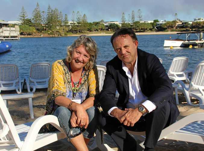 SPRUIKING OUR DESTINATION: Australian Society of Travel Writers president Danielle Lancaster and Visit Sunshine Coast CEO Simon Latchford.