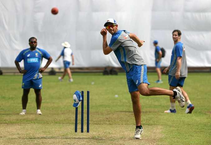 Ashton Agar bowls during an Australian Test team nets session at Sher-E Bangla National Cricket Stadium Cricket Stadium.