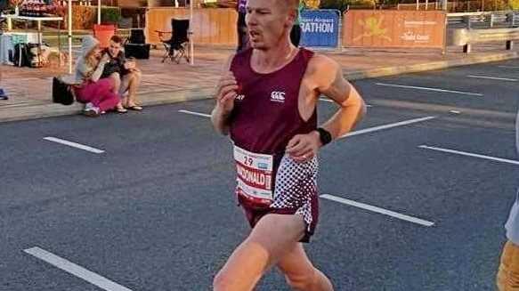 Toowoomba endurance athlete Matt Macdonald competing in last weekend's Australian Half Marathon at Alexandra Headlands.