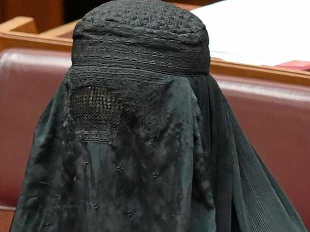 The Senators' pin is seen on a burqa One Nation Senator Pauline Hanson is wearing during Senate Question Time at Parliament House in Canberra, Thursday, August 17, 2017. (AAP Image/Lukas Coch) NO ARCHIVING
