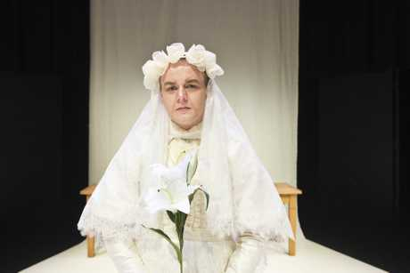Harrison Harms plays Maria-Josefa in The House of Bernarda Alba presented by USQ third year theatre students at USQ Arts Theatre, Wednesday, August 23, 2017.