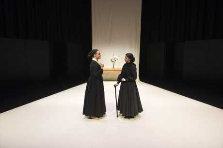 Maddison Barnes (left) as La Poncia and Kelsie Schulz as Bernarda in The House of Bernarda Alba presented by USQ third year theatre students at USQ Arts Theatre, Wednesday, August 23, 2017.